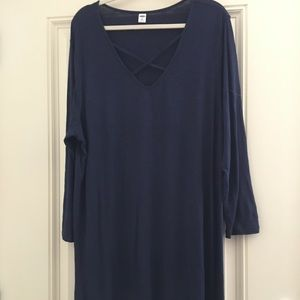 Navy Blue Old Navy Lace Detail Neck Tunic XXL